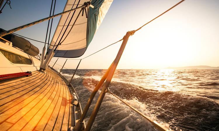 """Sailing regatta, during sunset."""